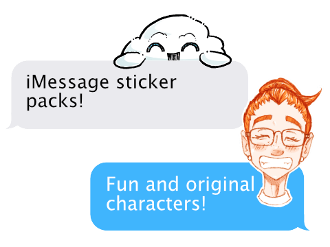 various iMessage stickers of Beyond The Sketch characters
